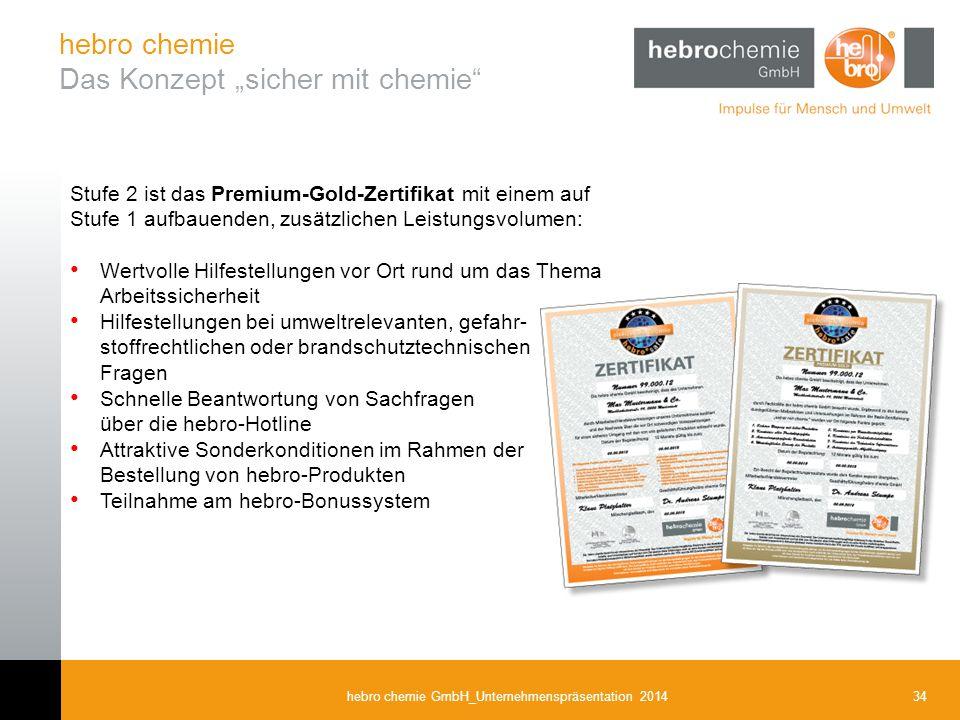 34hebro chemie GmbH_Unternehmenspräsentation 2014 Stufe 2 ist das Premium-Gold-Zertifikat mit einem auf Stufe 1 aufbauenden, zusätzlichen Leistungsvol