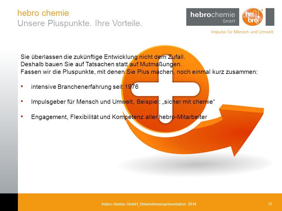 37hebro chemie GmbH_Unternehmenspräsentation 2014 Sie überlassen die zukünftige Entwicklung nicht dem Zufall. Deshalb bauen Sie auf Tatsachen statt au