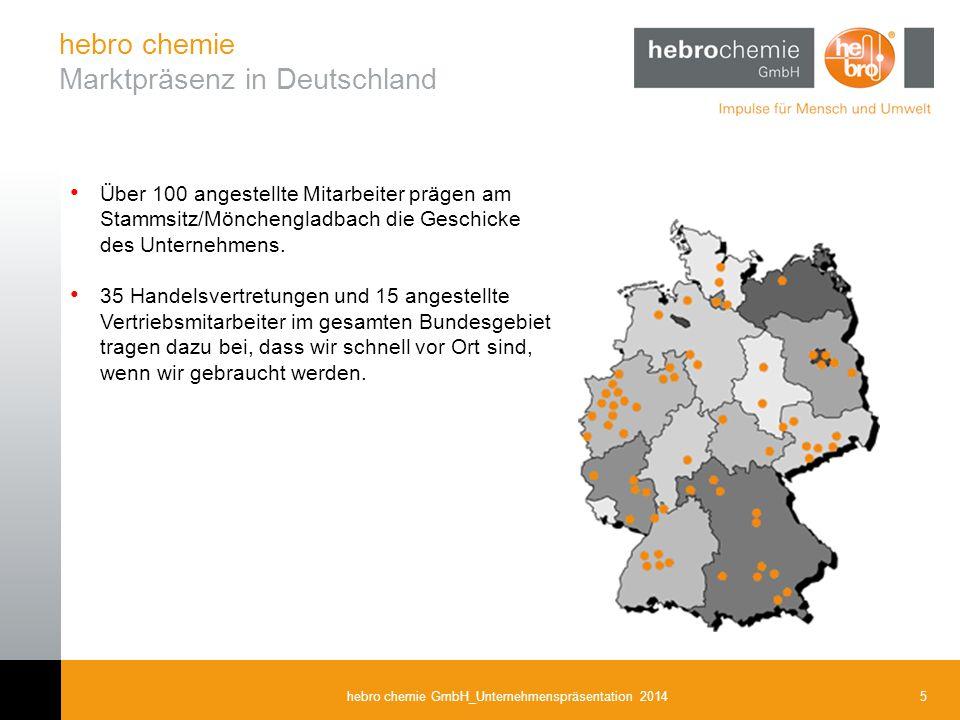 5hebro chemie GmbH_Unternehmenspräsentation 2014 hebro chemie Marktpräsenz in Deutschland Über 100 angestellte Mitarbeiter prägen am Stammsitz/Mönchen