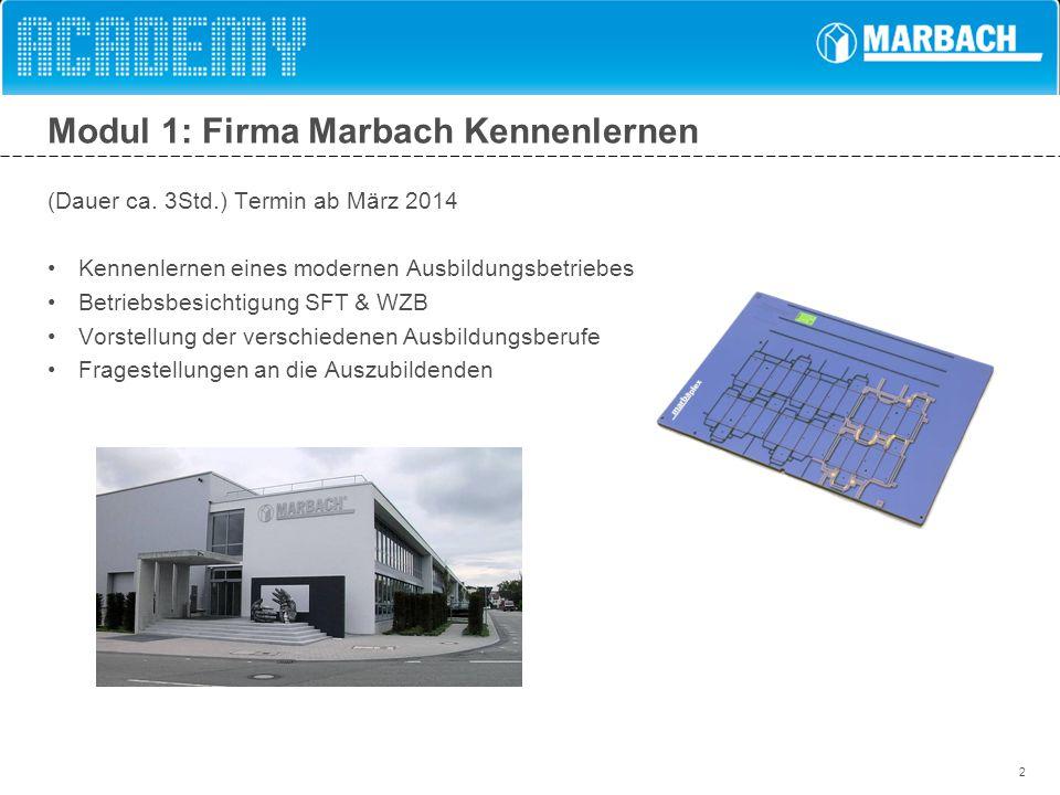 2 Modul 1: Firma Marbach Kennenlernen (Dauer ca. 3Std.) Termin ab März 2014 Kennenlernen eines modernen Ausbildungsbetriebes Betriebsbesichtigung SFT