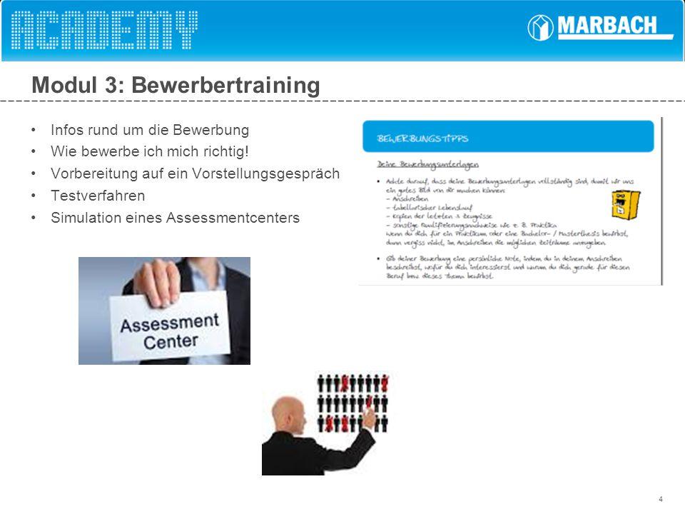 4 Modul 3: Bewerbertraining Infos rund um die Bewerbung Wie bewerbe ich mich richtig! Vorbereitung auf ein Vorstellungsgespräch Testverfahren Simulati