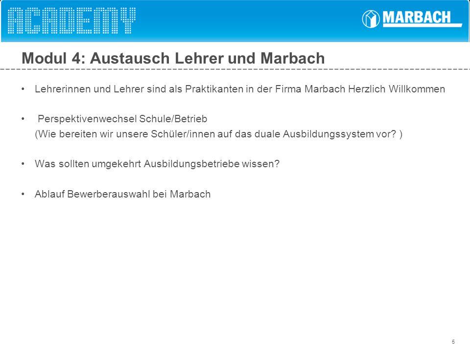 5 Modul 4: Austausch Lehrer und Marbach Lehrerinnen und Lehrer sind als Praktikanten in der Firma Marbach Herzlich Willkommen Perspektivenwechsel Schu