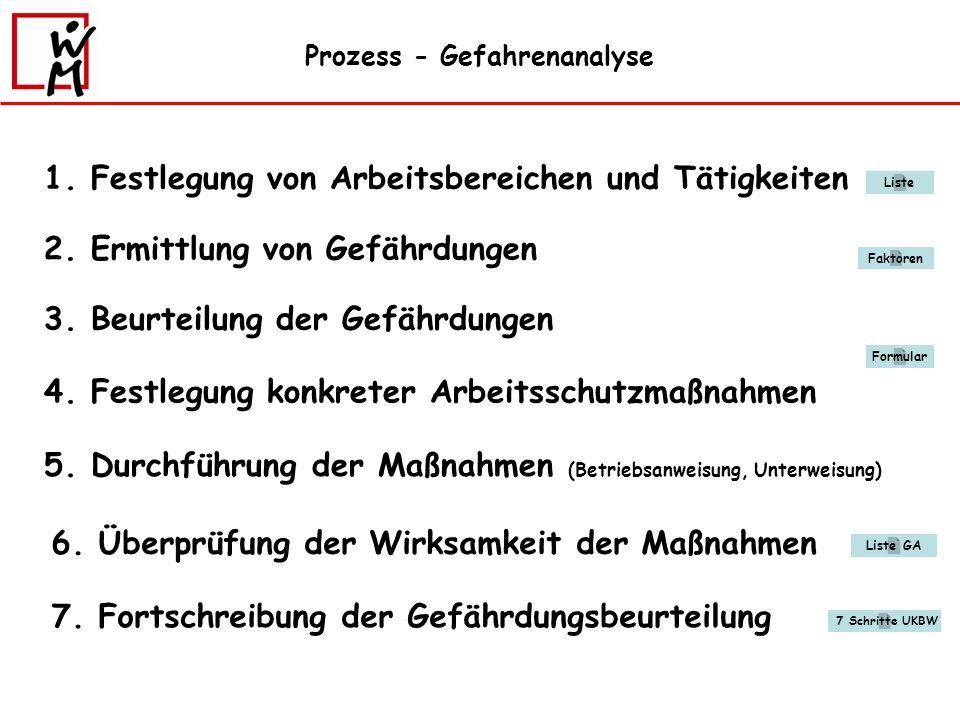 Prozess - Gefahrenanalyse 1.Festlegung von Arbeitsbereichen und Tätigkeiten 2.