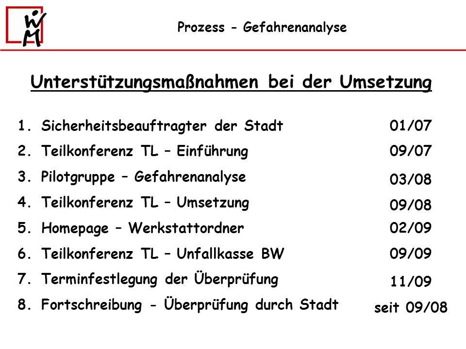 Prozess - Gefahrenanalyse 1.Sicherheitsbeauftragter der Stadt 2.