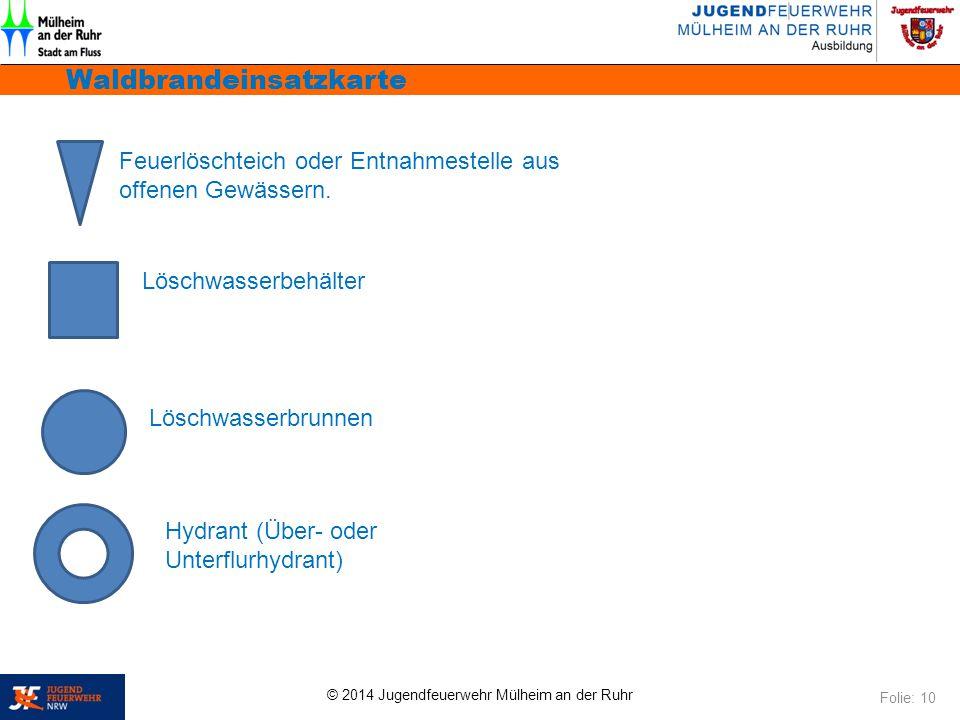 © 2014 Jugendfeuerwehr Mülheim an der Ruhr Waldbrandeinsatzkarte Folie: 10 Feuerlöschteich oder Entnahmestelle aus offenen Gewässern. Löschwasserbehäl