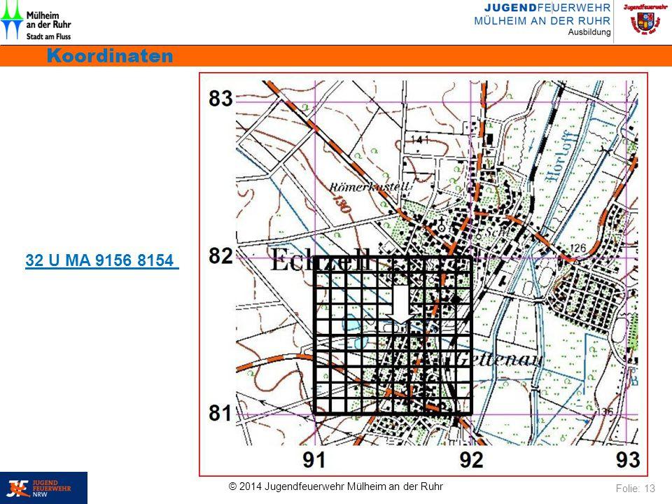 © 2014 Jugendfeuerwehr Mülheim an der Ruhr Koordinaten Folie: 13 32 U MA 9156 8154