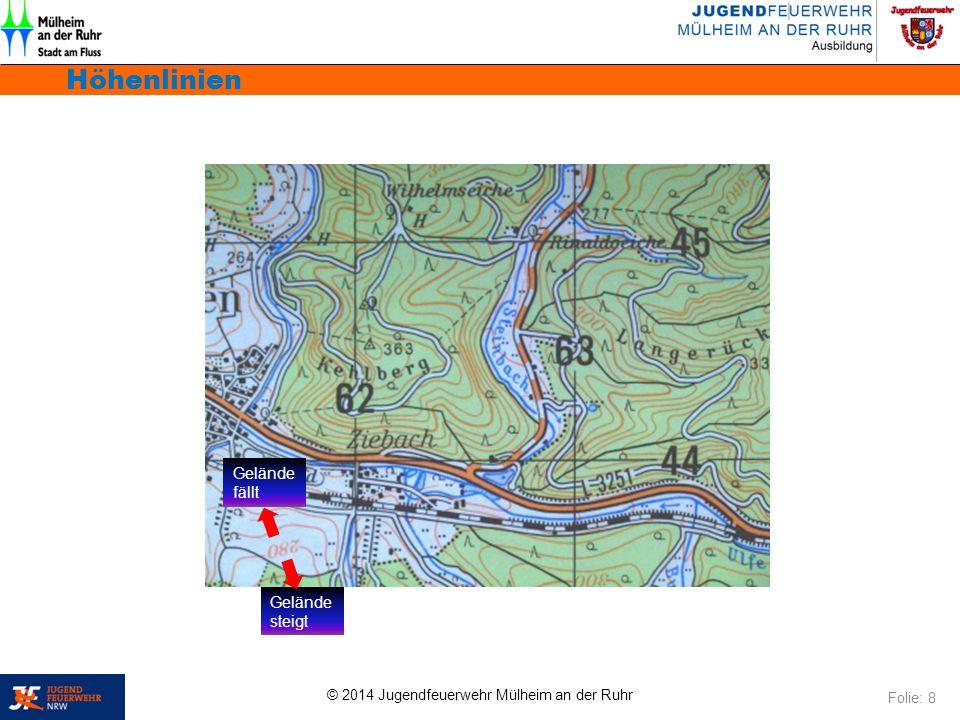 © 2014 Jugendfeuerwehr Mülheim an der Ruhr Höhenlinien Folie: 8 Gelände steigt Gelände fällt