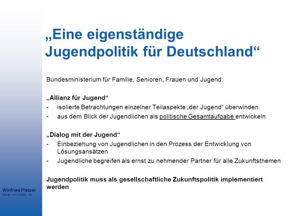 """Winfried Pletzer pletzer.winfried@bjr..de """"Eine eigenständige Jugendpolitik für Deutschland"""" Bundesministerium für Familie, Senioren, Frauen und Jugen"""