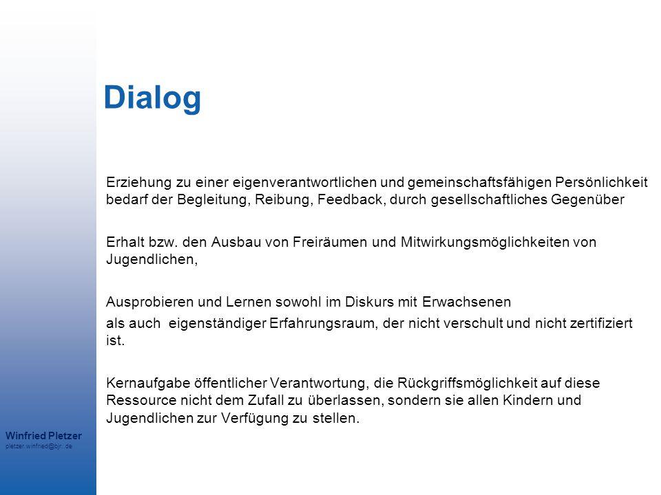 Winfried Pletzer pletzer.winfried@bjr..de Dialog Erziehung zu einer eigenverantwortlichen und gemeinschaftsfähigen Persönlichkeit bedarf der Begleitun