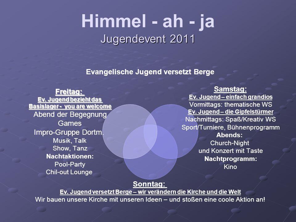 Jugendevent 2011 Himmel - ah - ja Jugendevent 2011 Evangelische Jugend versetzt Berge Samstag: Ev.