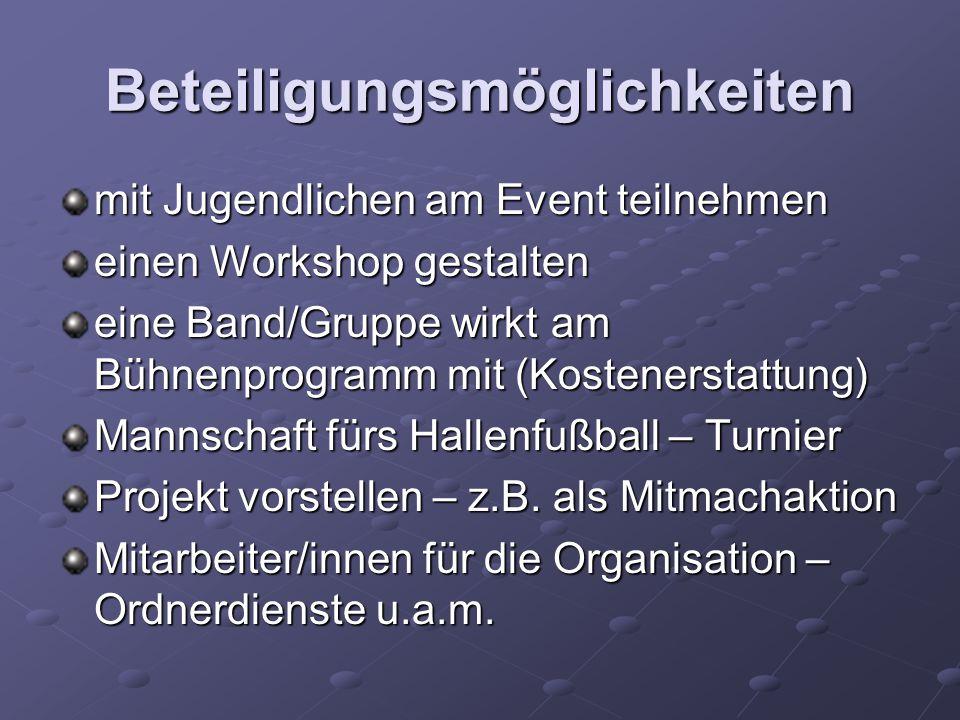 Beteiligungsmöglichkeiten mit Jugendlichen am Event teilnehmen einen Workshop gestalten eine Band/Gruppe wirkt am Bühnenprogramm mit (Kostenerstattung) Mannschaft fürs Hallenfußball – Turnier Projekt vorstellen – z.B.