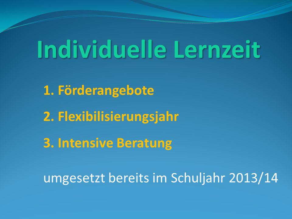 Individuelle Lernzeit 1.Förderangebote 2.Flexibilisierungsjahr 3.Intensive Beratung umgesetzt bereits im Schuljahr 2013/14