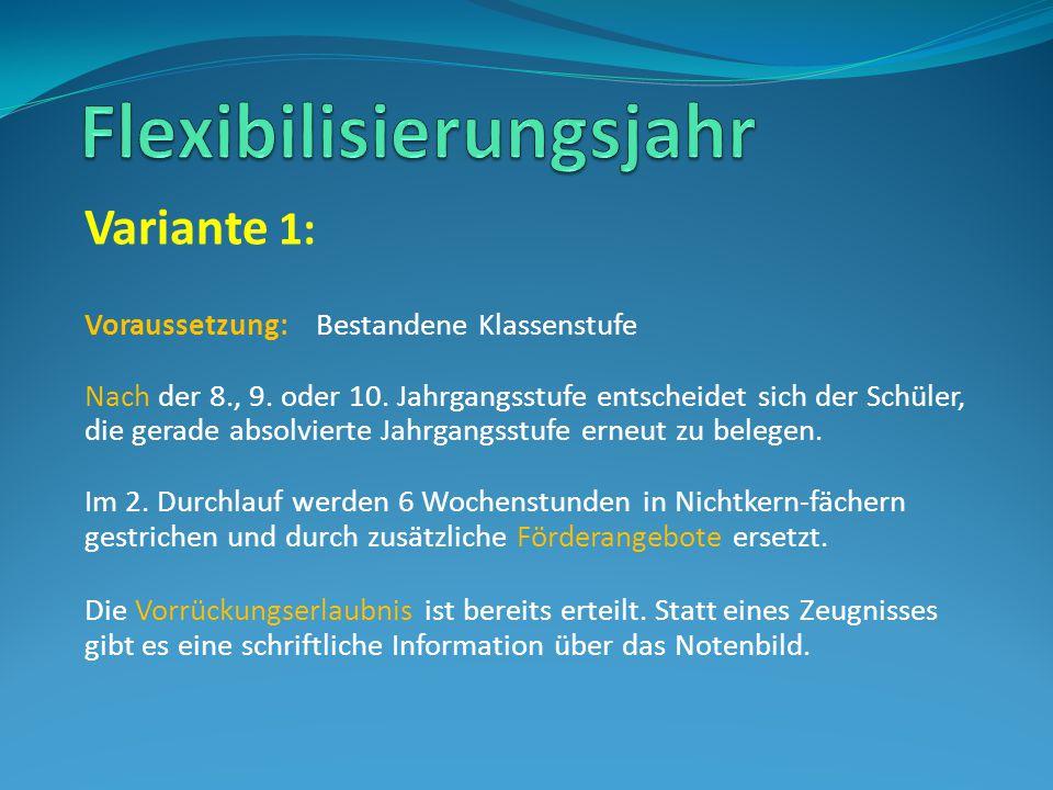 Variante 1: Voraussetzung: Bestandene Klassenstufe Nach der 8., 9.