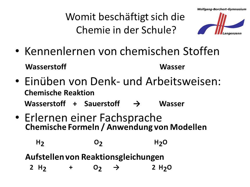 Womit beschäftigt sich die Chemie in der Schule.