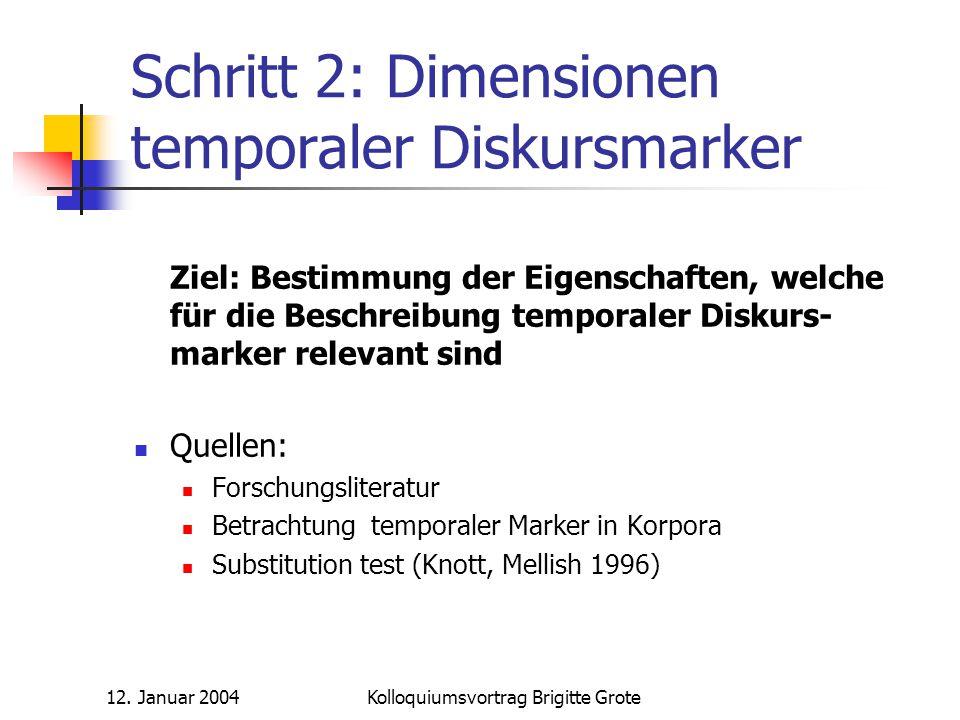 12. Januar 2004Kolloquiumsvortrag Brigitte Grote Schritt 2: Dimensionen temporaler Diskursmarker Ziel: Bestimmung der Eigenschaften, welche für die Be
