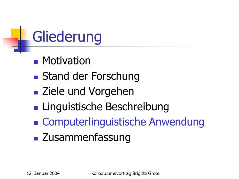 12. Januar 2004Kolloquiumsvortrag Brigitte Grote Gliederung Motivation Stand der Forschung Ziele und Vorgehen Linguistische Beschreibung Computerlingu