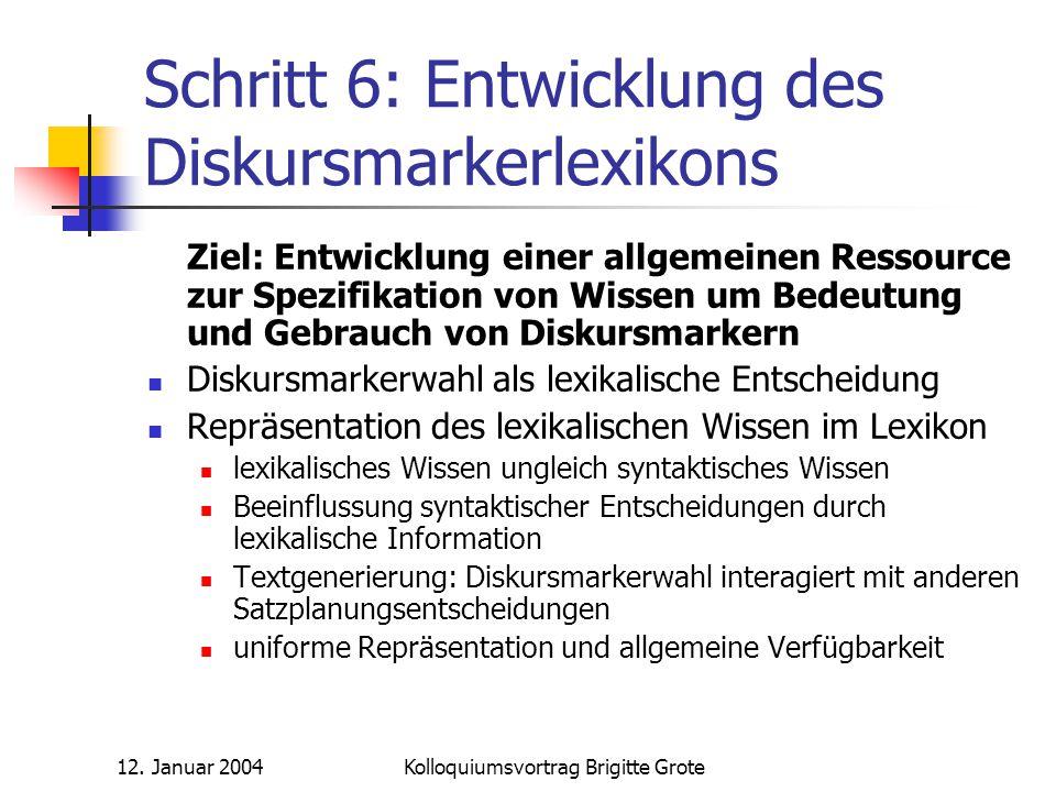 12. Januar 2004Kolloquiumsvortrag Brigitte Grote Schritt 6: Entwicklung des Diskursmarkerlexikons Ziel: Entwicklung einer allgemeinen Ressource zur Sp