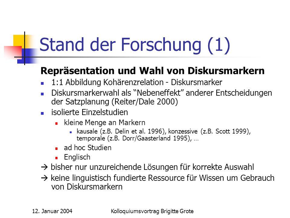 12. Januar 2004Kolloquiumsvortrag Brigitte Grote Stand der Forschung (1) Repräsentation und Wahl von Diskursmarkern 1:1 Abbildung Kohärenzrelation - D