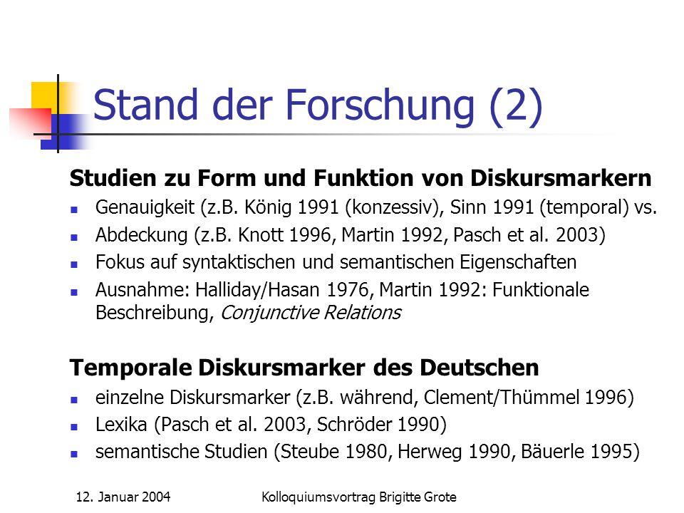 12. Januar 2004Kolloquiumsvortrag Brigitte Grote Stand der Forschung (2) Studien zu Form und Funktion von Diskursmarkern Genauigkeit (z.B. König 1991