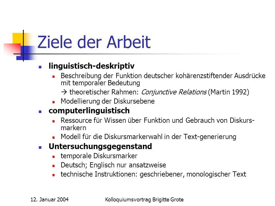 12. Januar 2004Kolloquiumsvortrag Brigitte Grote Ziele der Arbeit linguistisch-deskriptiv Beschreibung der Funktion deutscher kohärenzstiftender Ausdr