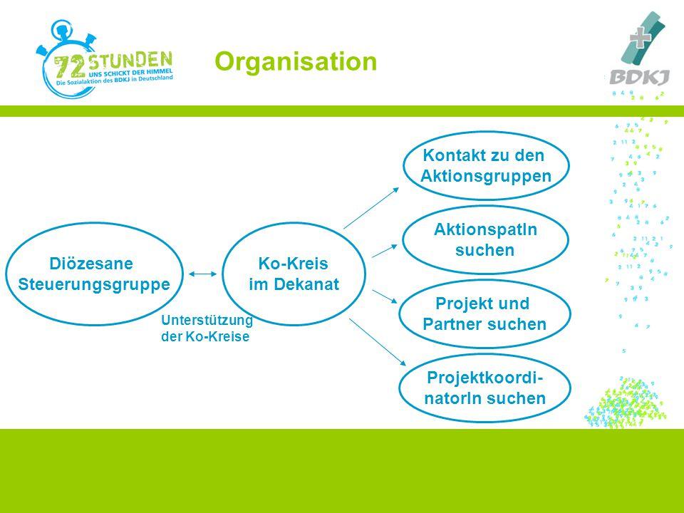 Organisation Diözesane Steuerungsgruppe Ko-Kreis im Dekanat Projekt und Partner suchen Kontakt zu den Aktionsgruppen AktionspatIn suchen Projektkoordi