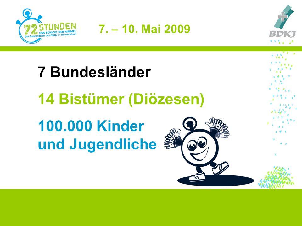 7 Bundesländer 14 Bistümer (Diözesen) 100.000 Kinder und Jugendliche 7. – 10. Mai 2009