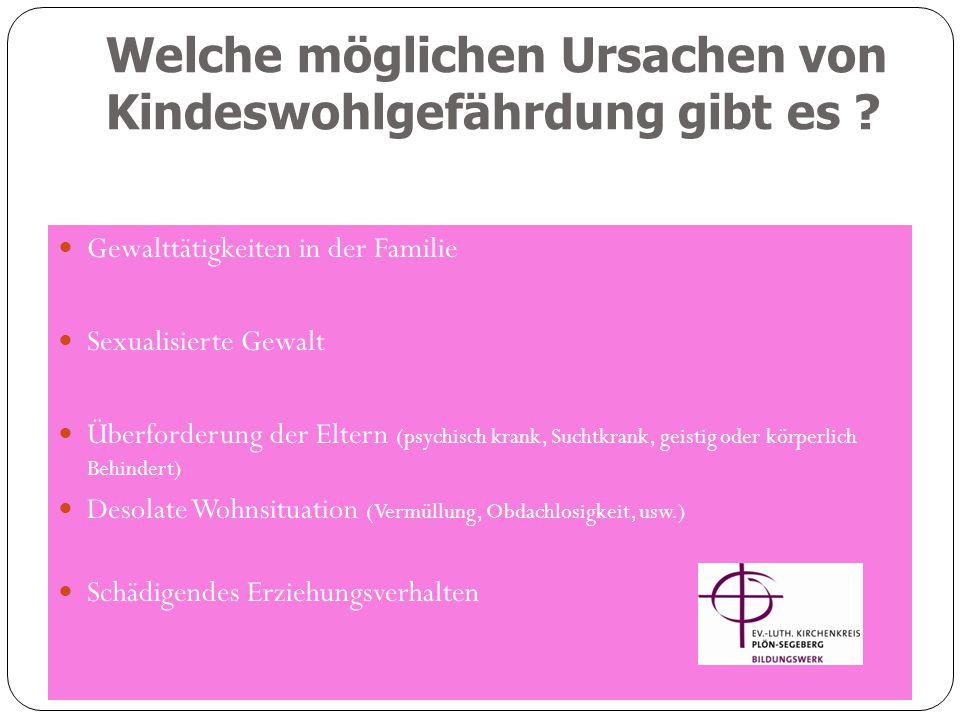 Welche möglichen Ursachen von Kindeswohlgefährdung gibt es ? Ev. Bildungswerk-Teamerschulung-2012 Gewalttätigkeiten in der Familie Sexualisierte Gewal