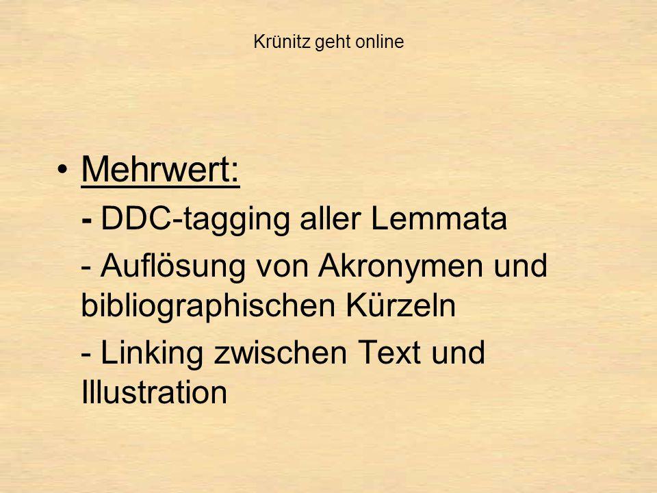 Krünitz geht online Mehrwert: - DDC-tagging aller Lemmata - Auflösung von Akronymen und bibliographischen Kürzeln - Linking zwischen Text und Illustration