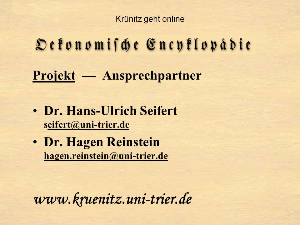 ProjektProjekt — Ansprechpartner Dr.
