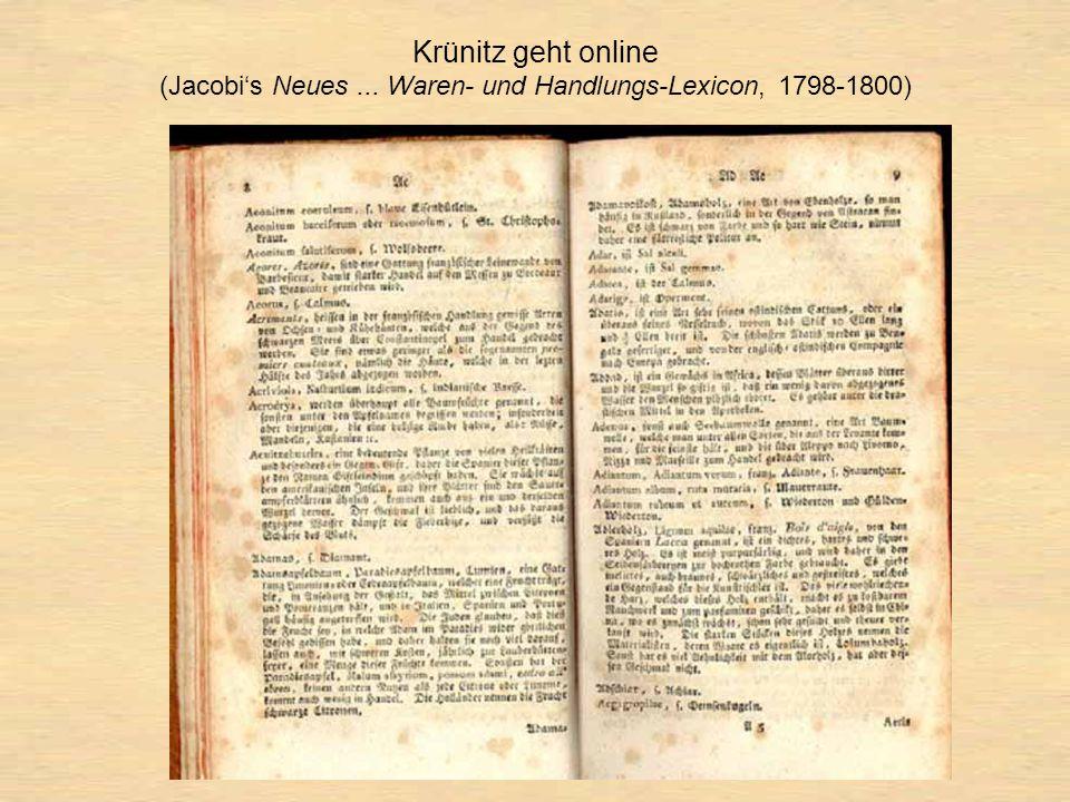 Krünitz geht online (Jacobi's Neues... Waren- und Handlungs-Lexicon, 1798-1800)