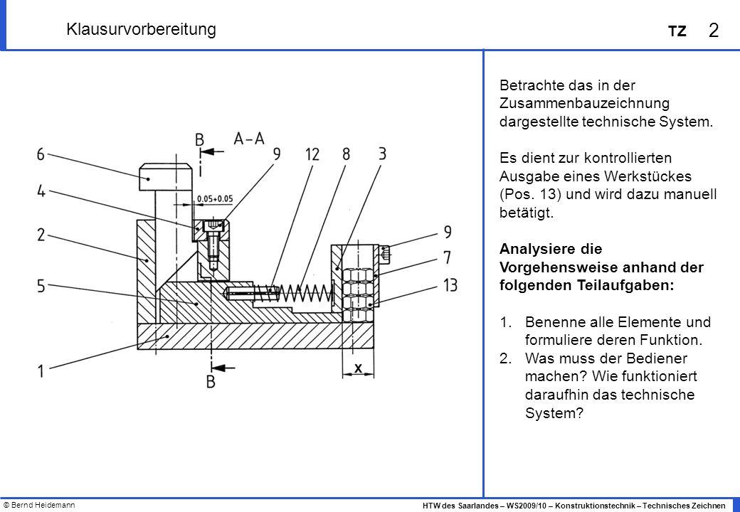 © Bernd Heidemann 2 HTW des Saarlandes – WS2009/10 – Konstruktionstechnik – Technisches Zeichnen TZ Klausurvorbereitung Betrachte das in der Zusammenb