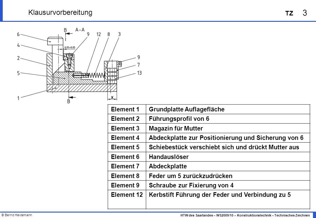 © Bernd Heidemann 3 HTW des Saarlandes – WS2009/10 – Konstruktionstechnik – Technisches Zeichnen TZ Klausurvorbereitung Element 1Grundplatte Auflagefl