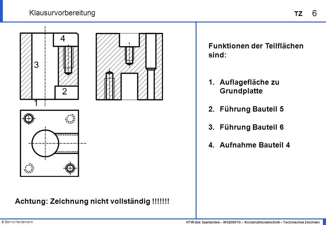 © Bernd Heidemann 6 HTW des Saarlandes – WS2009/10 – Konstruktionstechnik – Technisches Zeichnen TZ Klausurvorbereitung Funktionen der Teilflächen sin