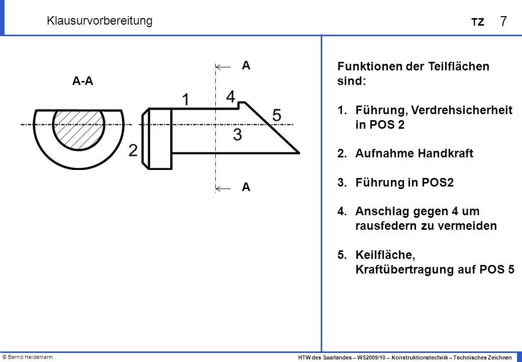 © Bernd Heidemann 8 HTW des Saarlandes – WS2009/10 – Konstruktionstechnik – Technisches Zeichnen TZ Klausurvorbereitung Veranschauliche folgende Toleranzfelder qualitativ im nebenstehenden Diagramm 4h7 4h9 4H7 4H9 4G7 4G9 40G9 40h7 + μm - μm
