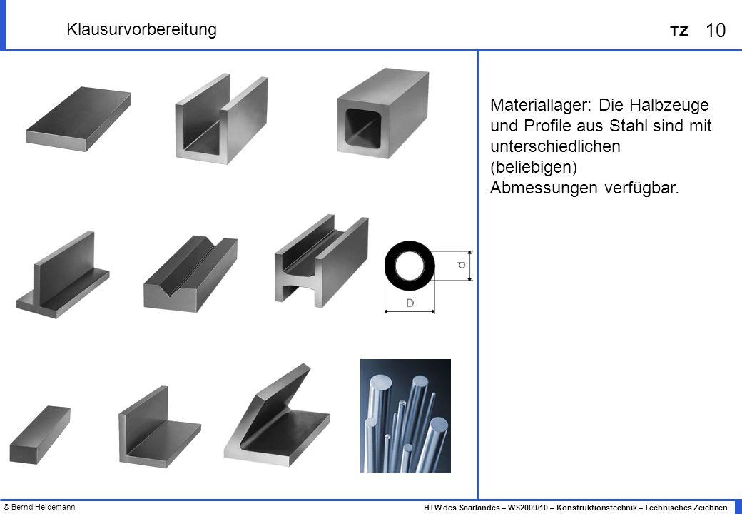 © Bernd Heidemann 10 HTW des Saarlandes – WS2009/10 – Konstruktionstechnik – Technisches Zeichnen TZ Klausurvorbereitung Materiallager: Die Halbzeuge