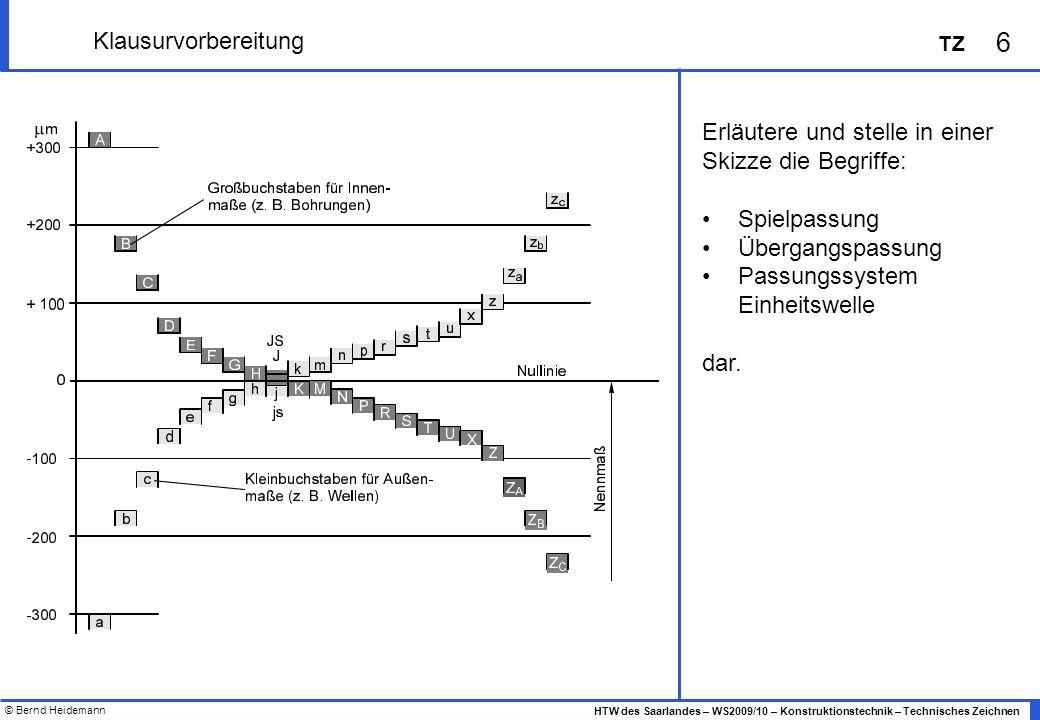 © Bernd Heidemann 6 HTW des Saarlandes – WS2009/10 – Konstruktionstechnik – Technisches Zeichnen TZ Klausurvorbereitung Erläutere und stelle in einer