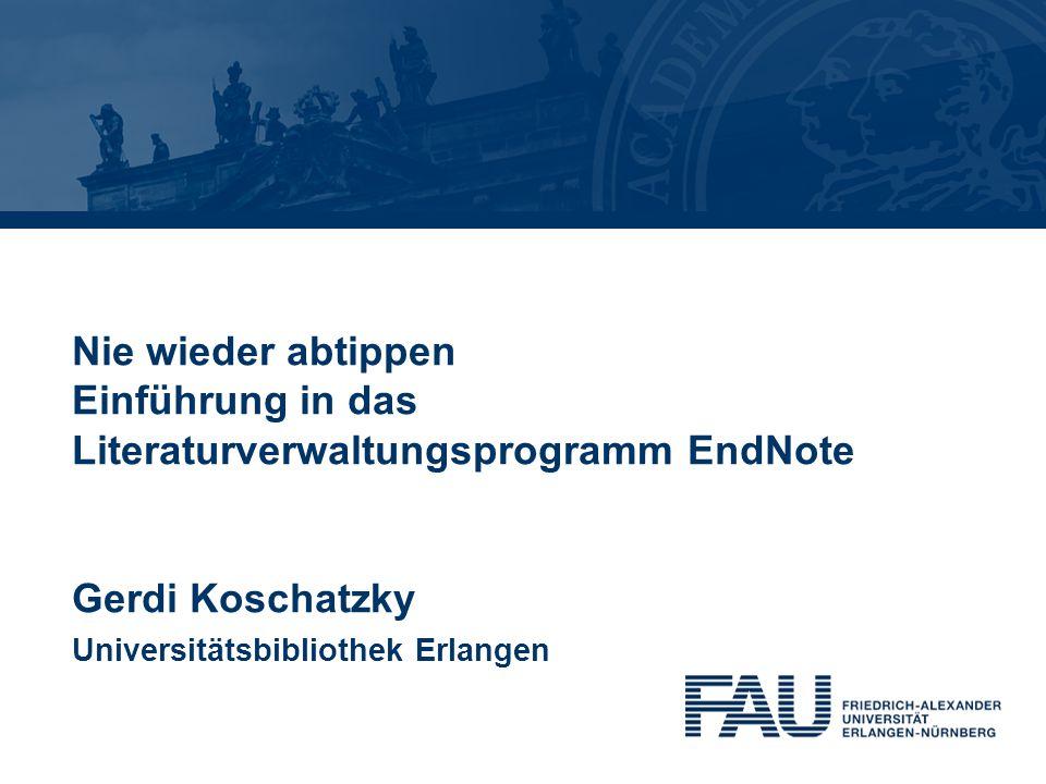 Agenda Gerdi Koschatzky | Stand: 1.7.20132 1.Übersicht über Literaturverwaltungsprogramme 2.Warum Literaturverwaltung mit EndNote.