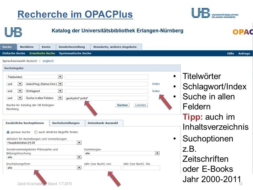 Treffermenge speichern/importieren Gerdi Koschatzky | Stand: 1.7.201313