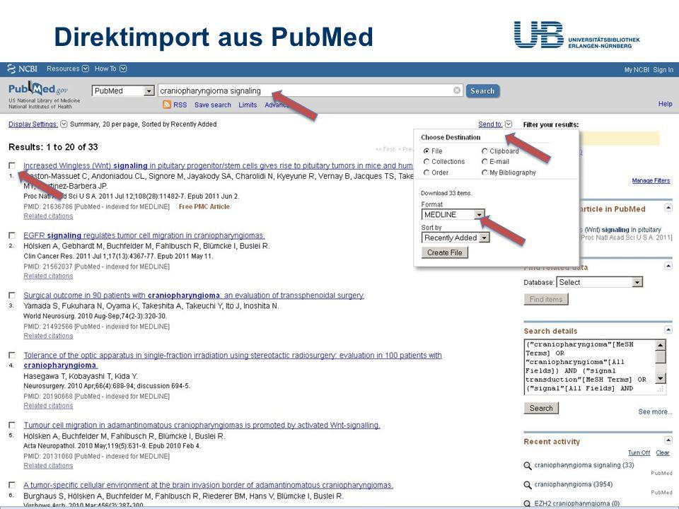 Direktimport aus ISI Web of Knowledge Gerdi Koschatzky | Stand: 1.7.201317 Importfilter: Web of Science