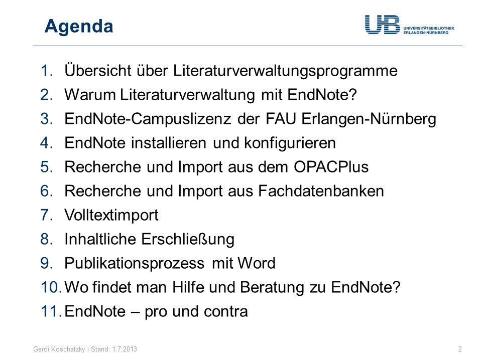 Marktübersicht Gerdi Koschatzky | Stand: 1.7.20133 Wie unterscheiden sich die Literaturverwaltungsprogramme?
