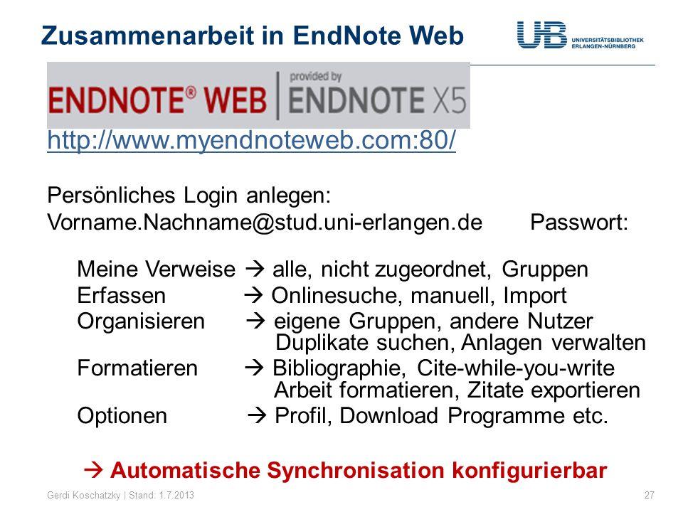 Hilfestellungen im Netz Gerdi Koschatzky | Stand: 1.7.201328 Unser Service zu Infos über UB-Homepage Schulungen zu EndNote Faq-Liste Beratung und Hilfe http://www.endnote.com/support/ Download von Broschüren, Handbüchern, Styles, Import-Filter, Add-Ons, Konversions-Tools, Softwareupdates …  http://www.adeptscience.de/download/ http://www.adeptscience.de/download/