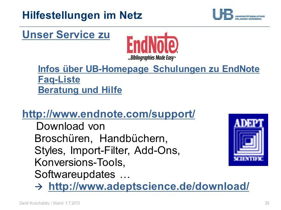 Online-Handbuch Gerdi Koschatzky | Stand: 1.7.201329 von In Zusammenarbeit mit der Universitätsbibliothek Heidelberg http://www.adeptscience.de/bibliographie/ endnote/handbuch/flipviewerxpress.html http://www.adeptscience.de/bibliographie/ endnote/handbuch/flipviewerxpress.html (Persönliche Anmeldung erforderlich)
