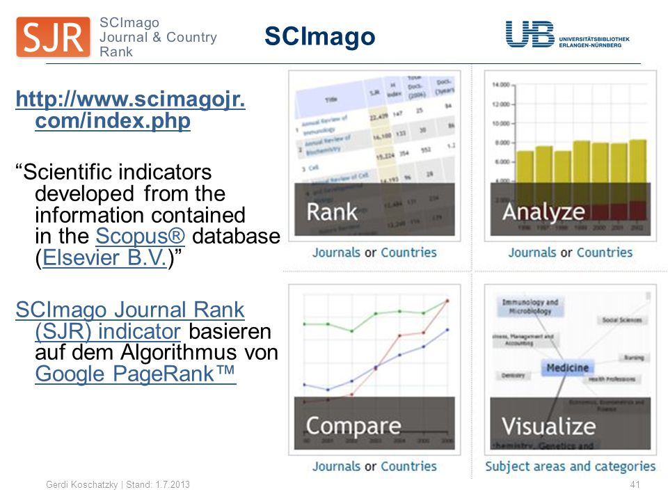 "SCImago Gerdi Koschatzky | Stand: 1.7.201341 http://www.scimagojr. com/index.php ""Scientific indicators developed from the information contained in th"