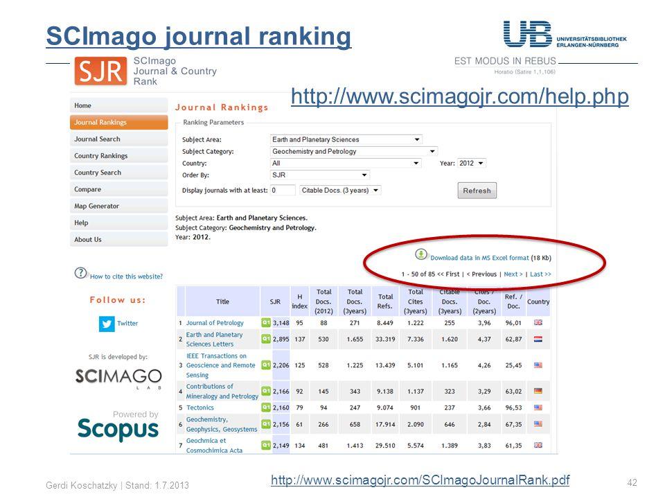 SJR SCImago Compare Gerdi Koschatzky | Stand: 1.7.201343