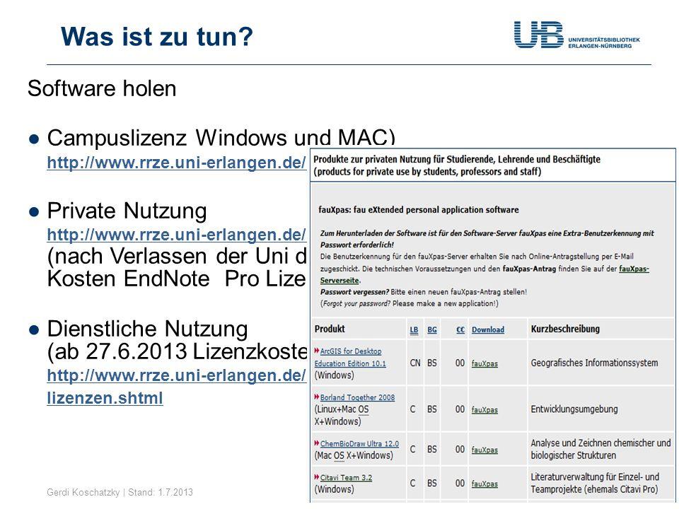 Gerdi Koschatzky | Stand: 1.7.20139 Modus Zitations- stil Neue Referenz Online- Suche Quick Search Schreib- prozess Hilfe Wie ist EndNote aufgebaut.