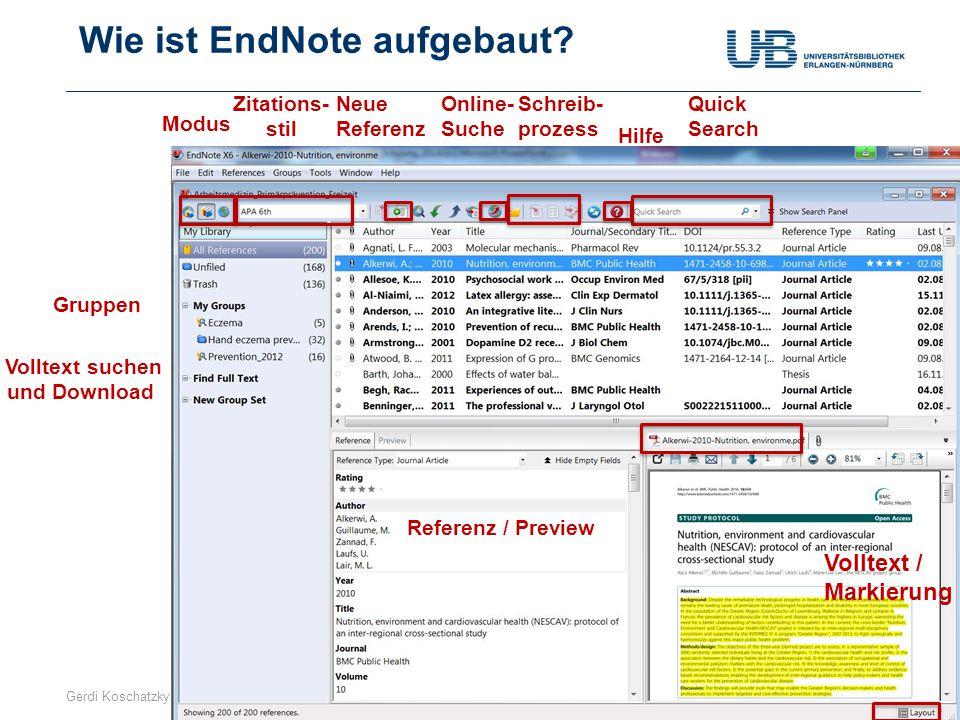 Gerdi Koschatzky | Stand: 1.7.201310 Oder ganz anders Referenz / Preview Volltext / Markierung