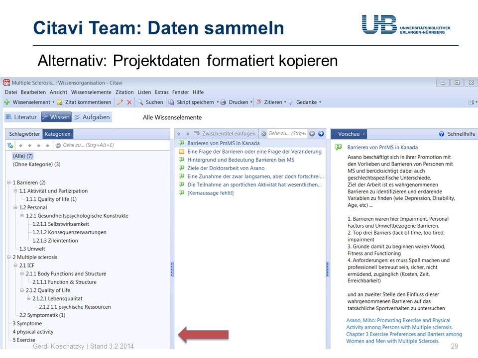 Citavi Team: Daten sammeln Gerdi Koschatzky | Stand 3.2.201429 Alternativ: Projektdaten formatiert kopieren