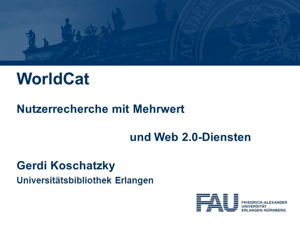 Agenda 1 Gerdi Koschatzky : WorldCat 26.7.20132 1.WorldCat von OCLC: Fakten und Statistik 2.WorldCat.org - die Endnutzerplattform im Internet 3.WorldCat-Suchoptionen 4.WorldCat: Login anlegen, Profil konfigurieren 5.Mehrwert: bevorzugte Bibliotheken, Social Network Services, Web 2.0, Suchanfragen speichern 6.Mehrwert: Listen erstellen, verwenden, kommunizieren 7.Mehrwert: Detailinformationen, Identities, Tag Cloud