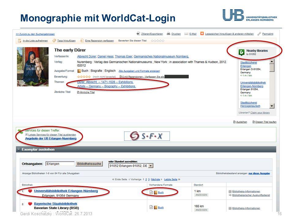Monographie mit WorldCat-Login Gerdi Koschatzky : WorldCat 26.7.201316