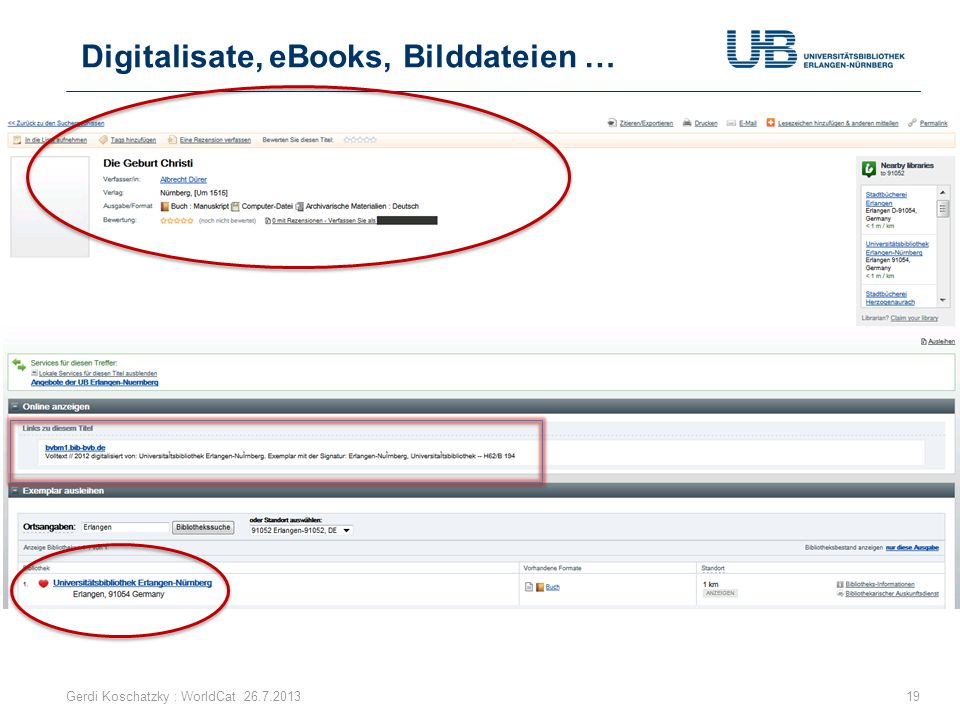 Digitalisate, eBooks, Bilddateien … Gerdi Koschatzky : WorldCat 26.7.201319